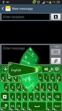 GO Keyboard Green Stars poster