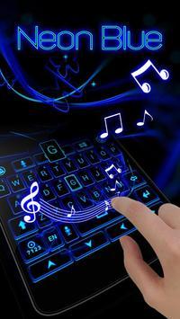 Neon Blue GO Keyboard Theme screenshot 2