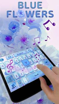 Blue Flowers GO Keyboard Theme apk screenshot