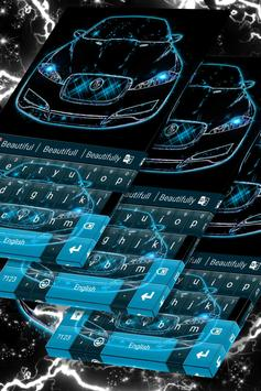 Neon Blue Cars Keyboard Theme poster