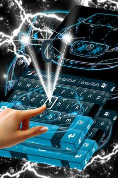 Neon Blue Cars Keyboard Theme screenshot 2