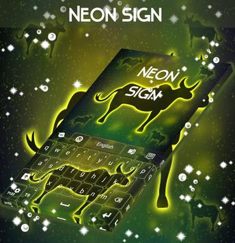 Neon Ox Sign Keyboard poster