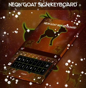Neon Goat Sign Keyboard poster