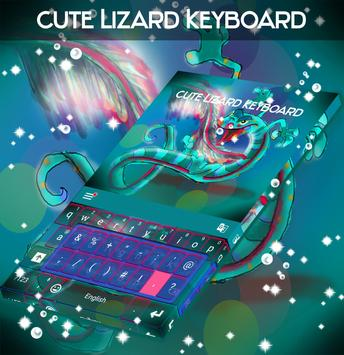 Cute Lizard Keyboard poster