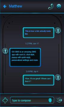 Blue Alien SMS Theme apk screenshot