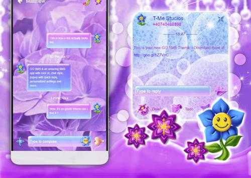 Purple Flowers SMS Theme poster