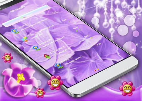 Purple Flowers SMS Theme apk screenshot
