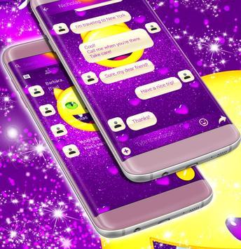 Emoji 2017 Purple SMS Theme screenshot 1