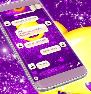 Emoji 2017 Purple SMS Theme screenshot 3