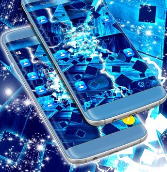 Neon Blue SMS Theme screenshot 1