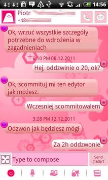 GO SMS Pink Floral Theme apk screenshot