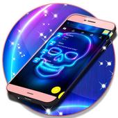 Neon SMS Skull Theme icon