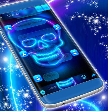 Neon SMS Skull Theme apk screenshot
