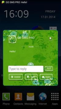 GO SMS Green Flowers apk screenshot