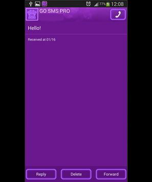 GO SMS Purple Neon apk screenshot