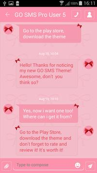 Pink Bow SMS Theme screenshot 5