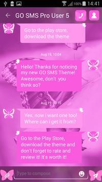 Pink Butterflies SMS Theme apk screenshot