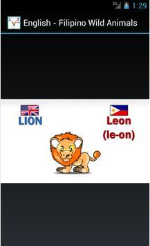 English Filipino Wild Animals apk screenshot