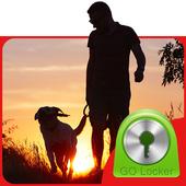 Dog on a walk GO Locker Theme icon