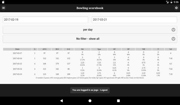 Bowling scorebook screenshot 8
