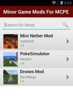 Minor Game Mods For MCPE apk screenshot
