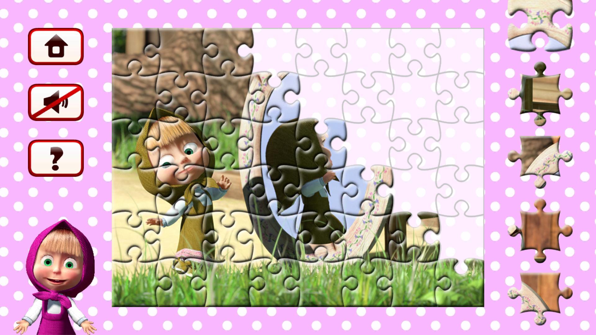 картинка маша и медведь для крупных пазлов распечатать кусок картона или