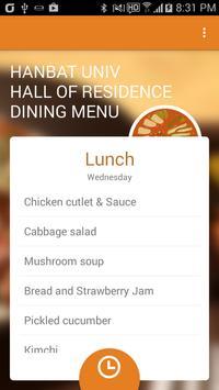 Hanbat Univ Halls Dining Menu apk screenshot
