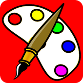 cartoon kid coloring book app icon