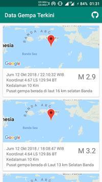 Data Gempa Terkini poster