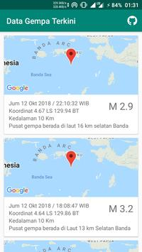 Data Gempa Terkini screenshot 1