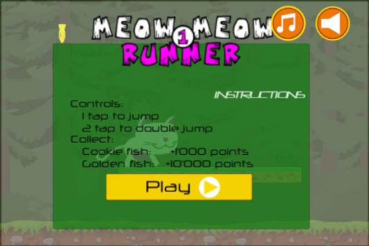 Cat games Fun Meow Meow Runner poster