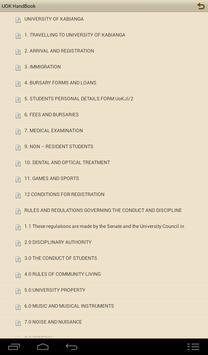 UOK student handbook screenshot 2