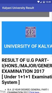 University of Kalyani Result apk screenshot