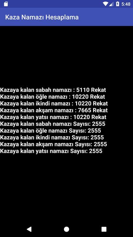 Kaza Namazı Hesaplama Namaz Borcu Hesaplama For Android Apk Download
