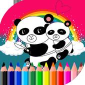 Kawaii coloring book icon