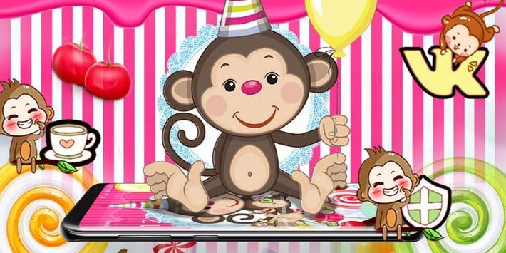 Kawaii Cute Candy Monkey Theme screenshot 3