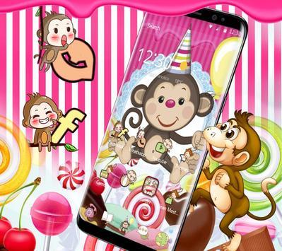 Kawaii Cute Candy Monkey Theme poster