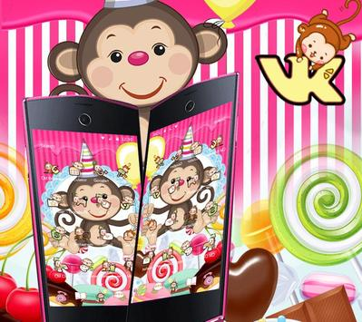 Kawaii Cute Candy Monkey Theme screenshot 1