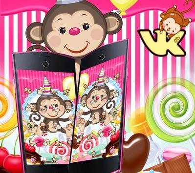 Kawaii Cute Candy Monkey Theme screenshot 8