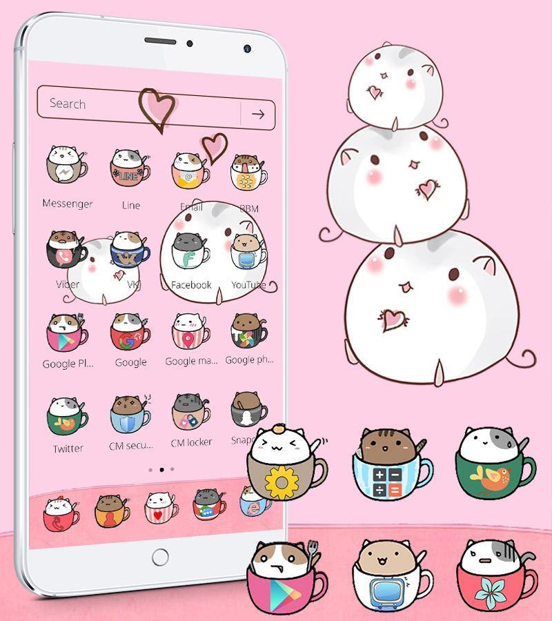 Kawaii Kitty Tema Tazza Gatto Sfondo Cup Cat For Android Apk Download