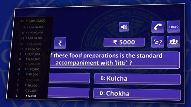 KBC 2018 & Crorepati English GK Endless Quiz Game screenshot 14