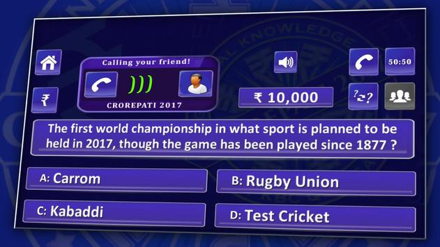 KBC 2018 & Crorepati English GK Endless Quiz Game screenshot 16