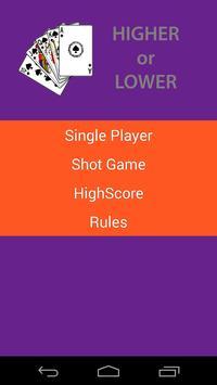 Higher or Lower apk screenshot