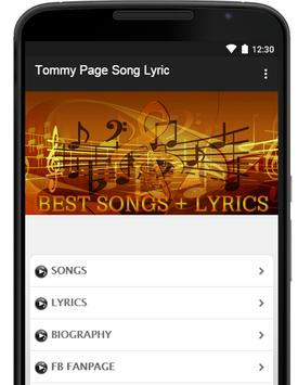 Tommy Page Song Lyric poster