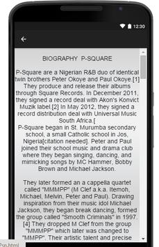 P-Square Music Lyrics apk screenshot