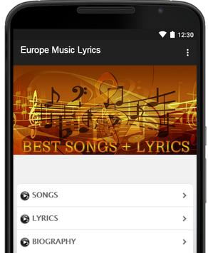 Europe Music Lyrics poster