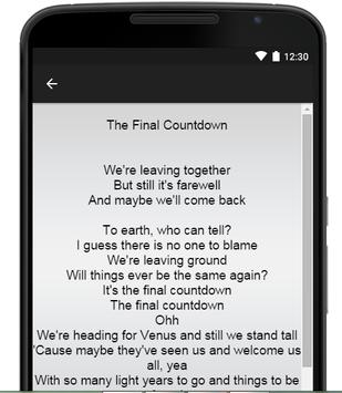 Europe Music Lyrics apk screenshot