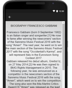 Francesco Gabbani Music Lyrics apk screenshot