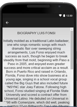 Luis Fonsi Music Lyrics apk screenshot
