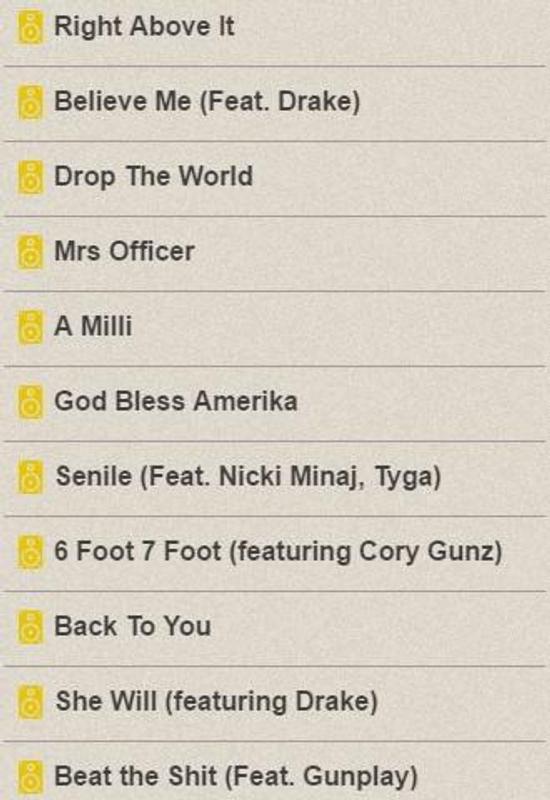 Lil Wayne Lyrics Screenshot 7